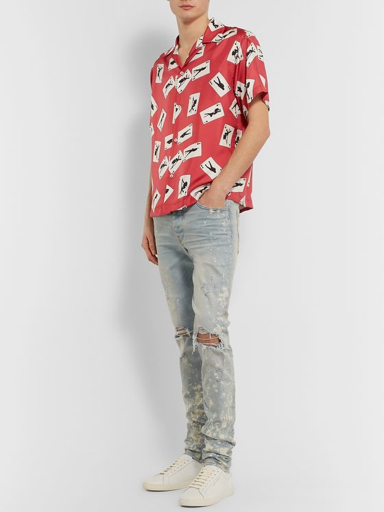 AMIRI Printed Camp-Collar Silk-Twill Shirt