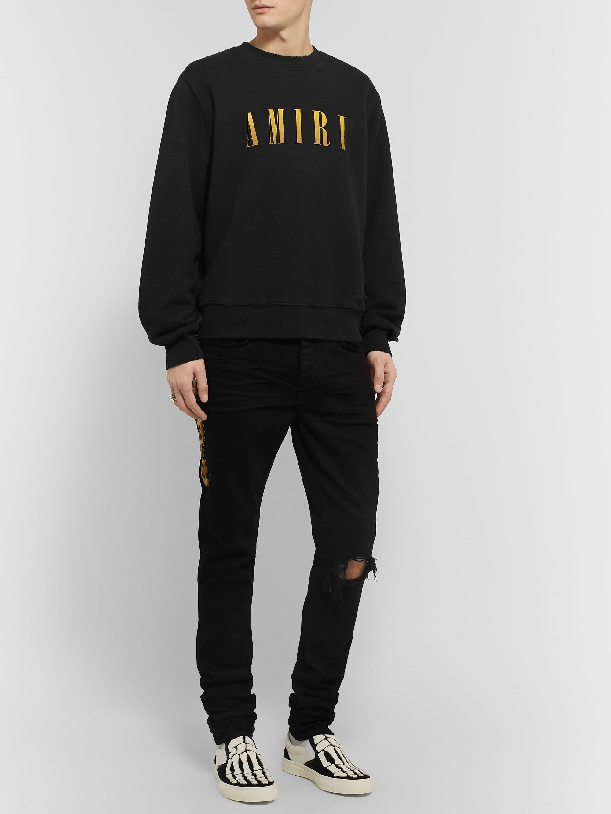 AMIRI Distressed Logo-Print Loopback Cotton-Jersey Sweatshirt