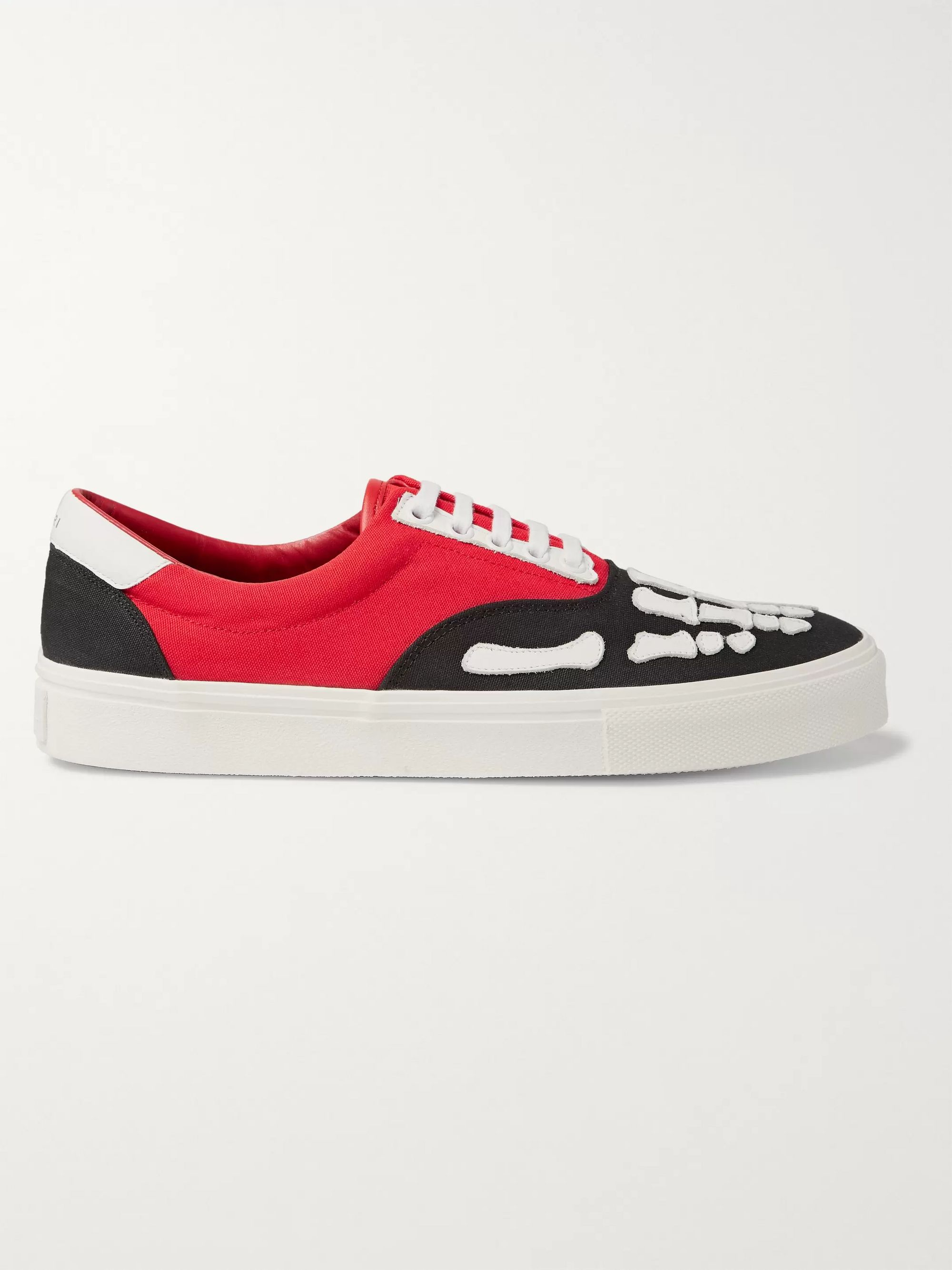 AMIRI Skel Toe Leather-Trimmed Colour-Block Canvas Sneakers