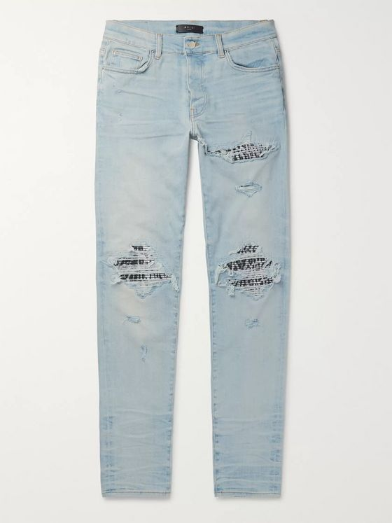 AMIRI MX1 Skinny-Fit Panelled Distressed Stretch-Denim Jeans