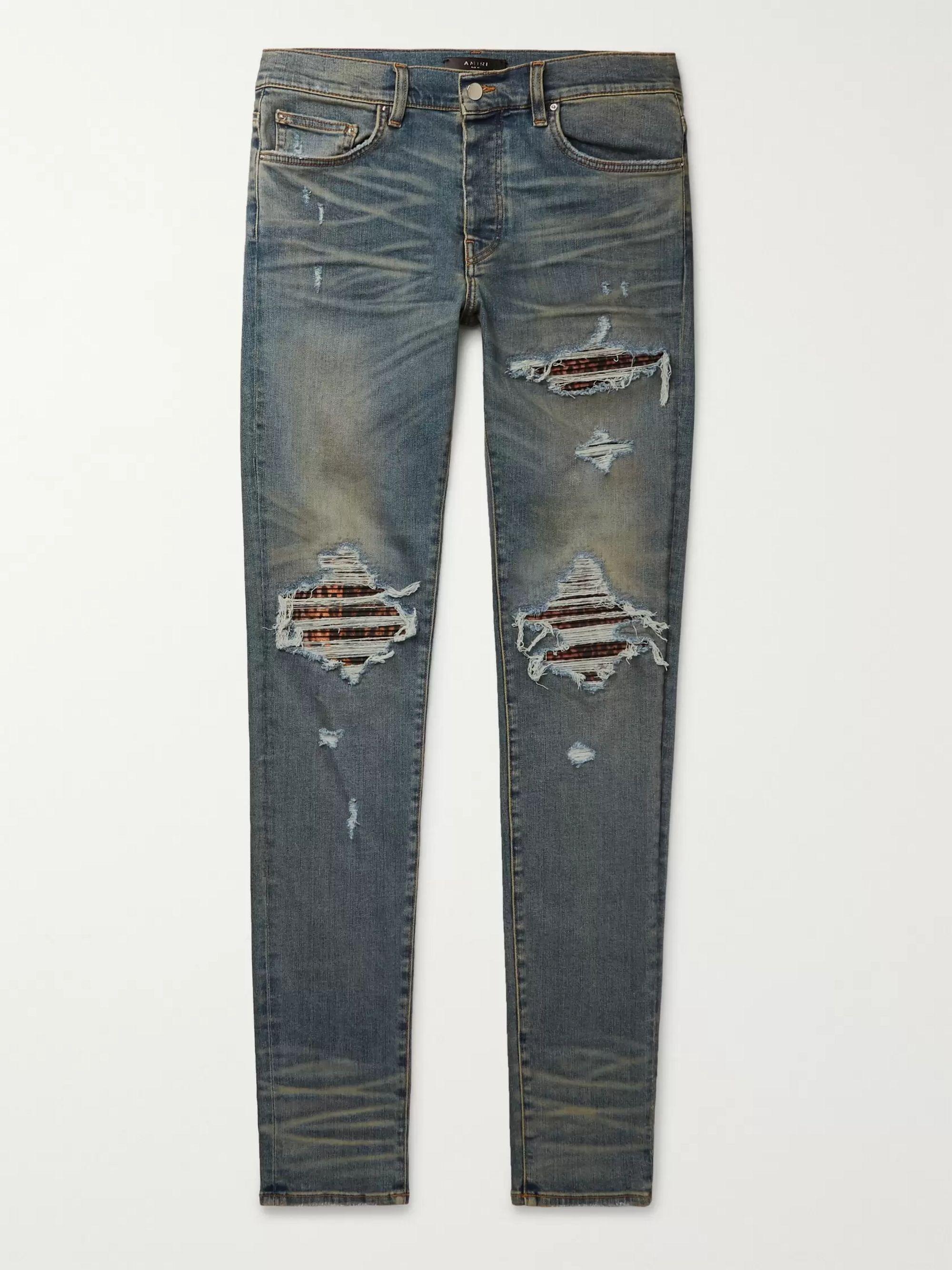 아미리 Amiri Blue MX1 Skinny-Fit Panelled Distressed Stretch-Denim Jeans,Blue