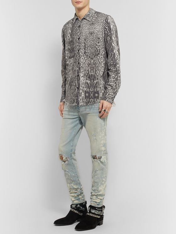 AMIRI Distressed Leopard-Print Cotton-Flannel Shirt
