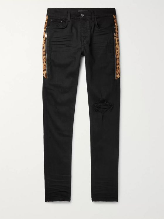 AMIRI Skinny-Fit Calf Hair-Trimmed Distressed Stretch-Denim Jeans
