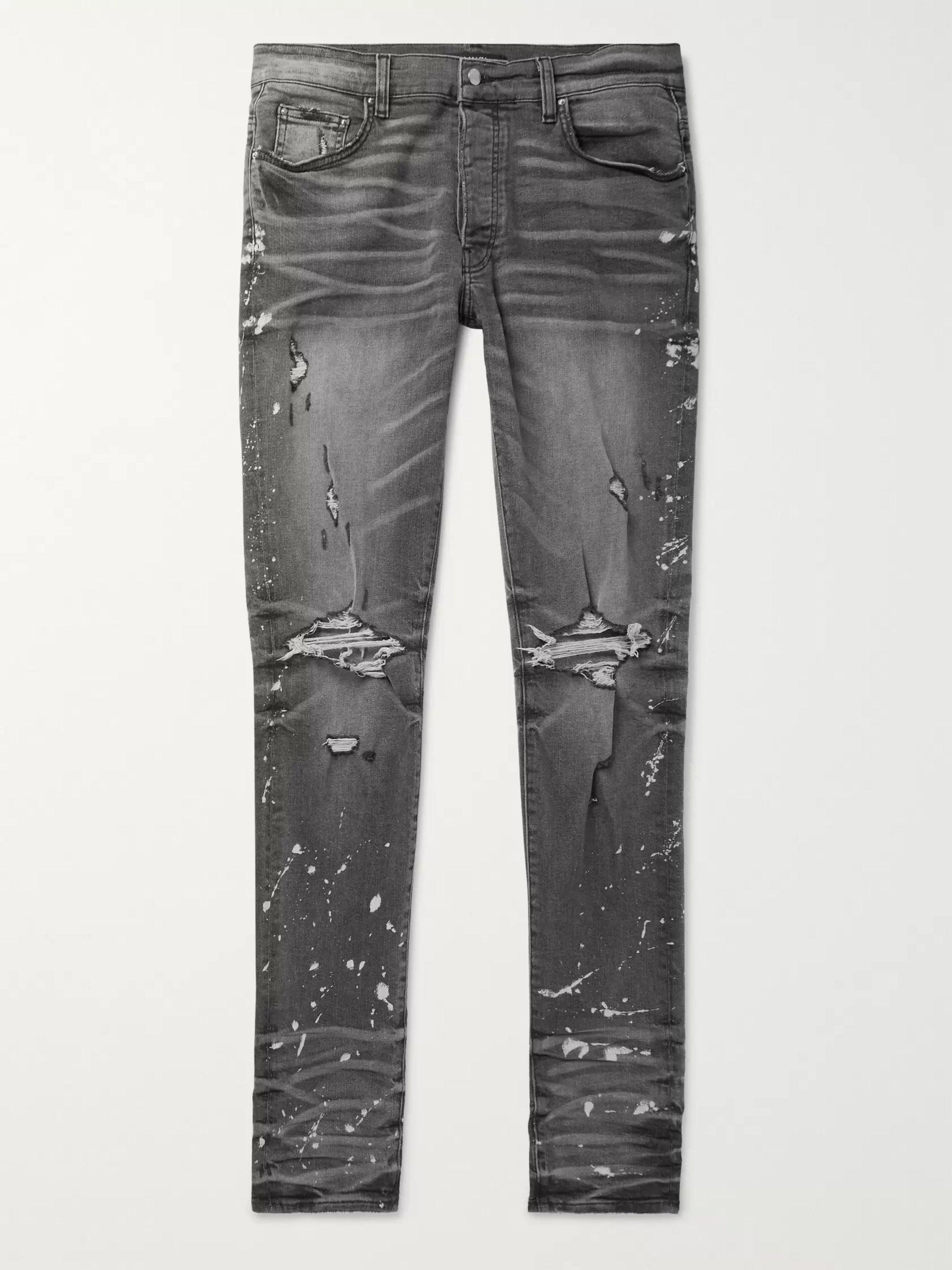 아미리 Amiri Charcoal Thrasher Minus Skinny-Fit Distressed Bleach-Splattered Stretch-Denim Jeans,Charcoal