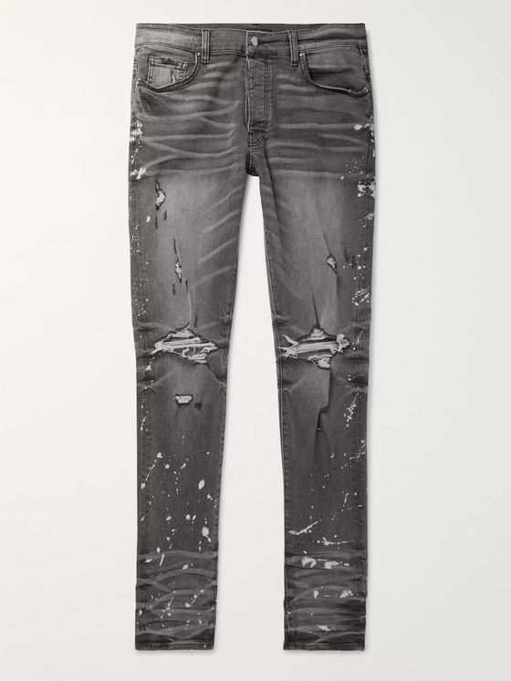 AMIRI Thrasher Minus Skinny-Fit Distressed Bleach-Splattered Stretch-Denim Jeans