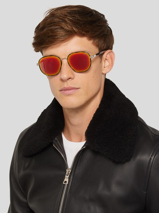 Berluti Spectre Round-Frame Acetate and Metal Sunglasses