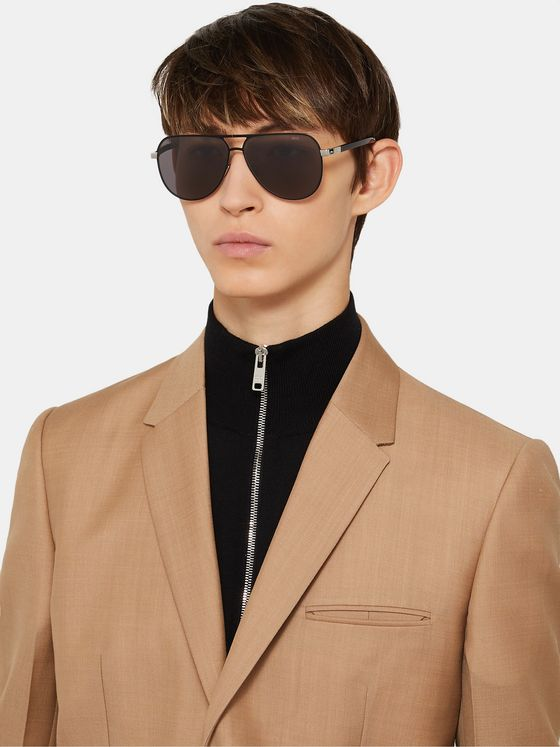 Berluti Aviator-Style Metal Sunglasses