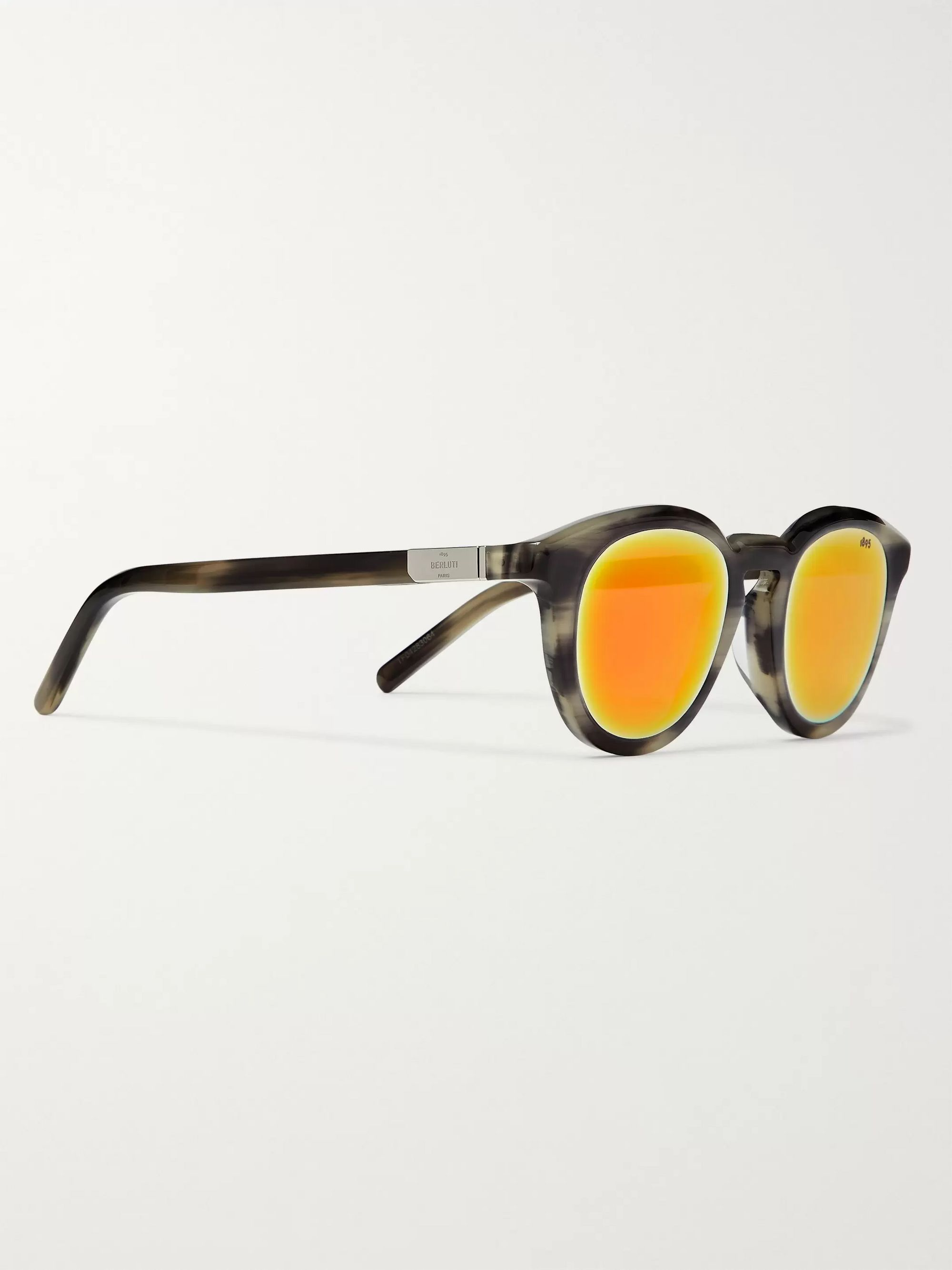 Berluti Round-Frame Acetate Mirrored Sunglasses