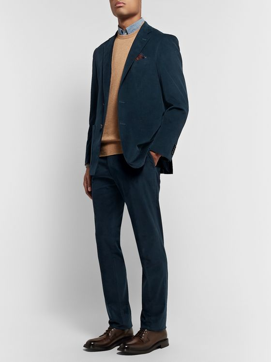 Canali Navy Kei Slim-Fit Stretch-Cotton Corduory Trousers