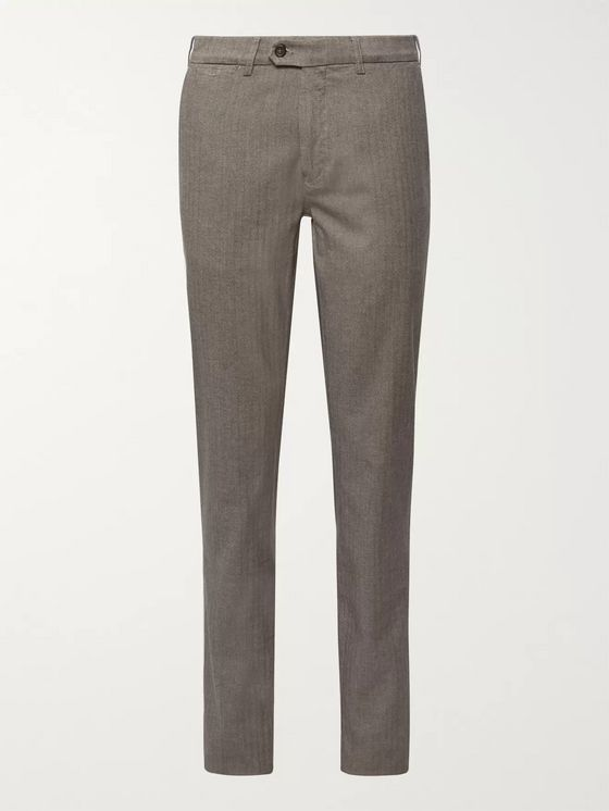 Canali Navy Slim-Fit Herringbone Stretch-Cotton Trousers