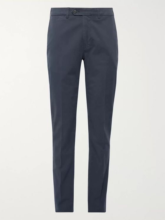 Canali Dark Grey-Green Slim-Fit Stretch-Cotton Twill Chinos