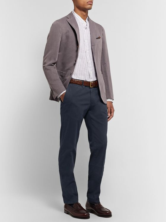 Canali Navy Slim-Fit Stretch-Cotton Twill Chinos