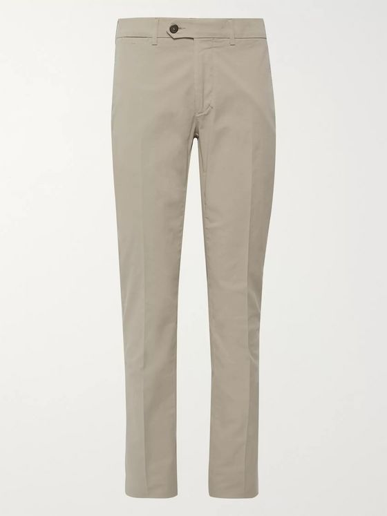 Canali Beige Slim-Fit Stretch-Cotton Twill Chinos