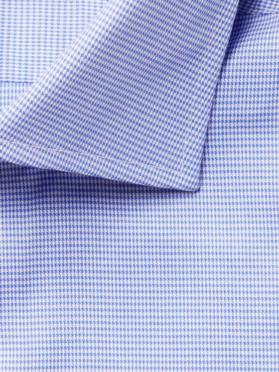 Canali Blue Puppytooth Cotton-Poplin Shirt