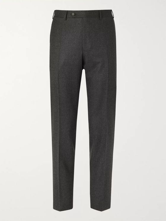 Canali Grey Slim-Fit Wool-Flannel Suit Trousers
