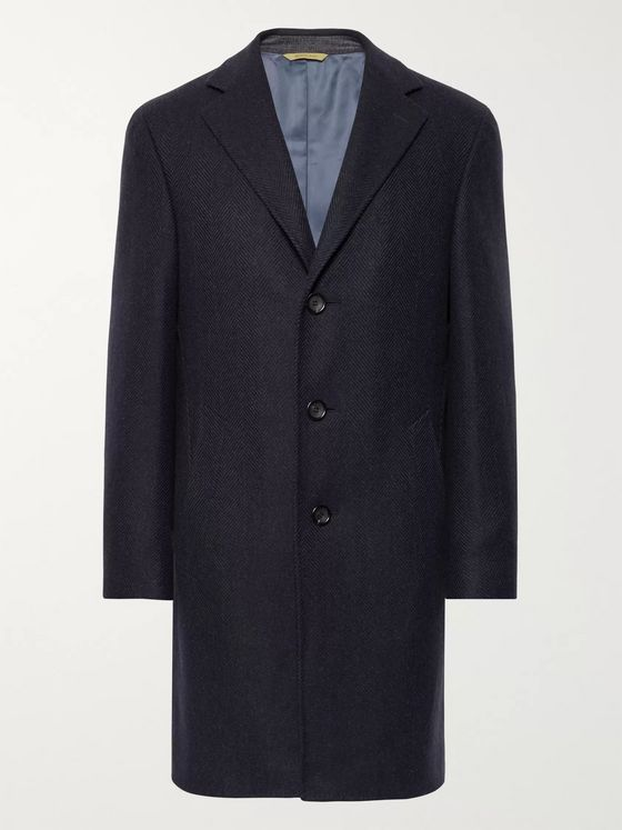 CANALI Herringbone Wool and Cashmere-Blend Overcoat