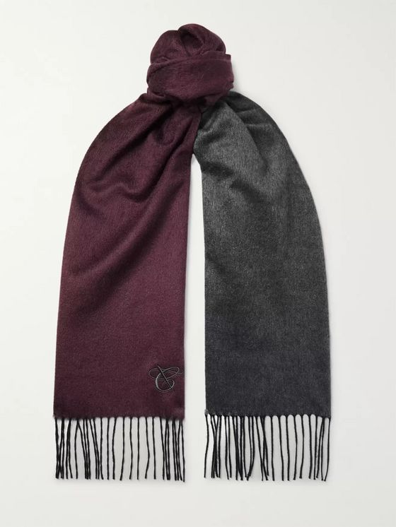 Canali Reversible Fringed Silk and Cashmere-Blend Scarf
