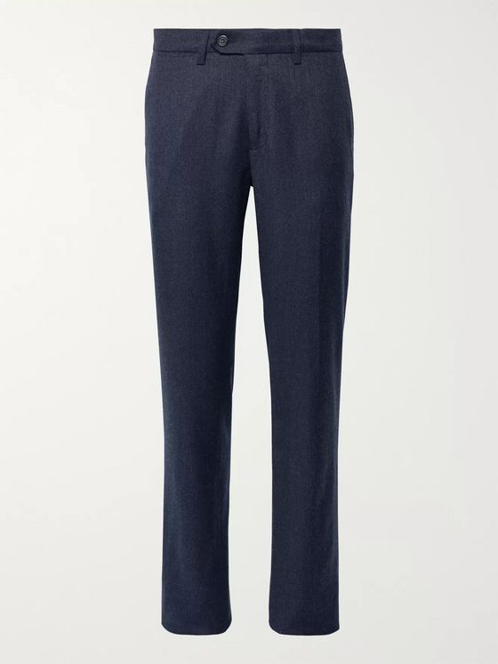 Canali Charcoal Slim-Fit Mélange Virgin Wool-Flannel Trousers