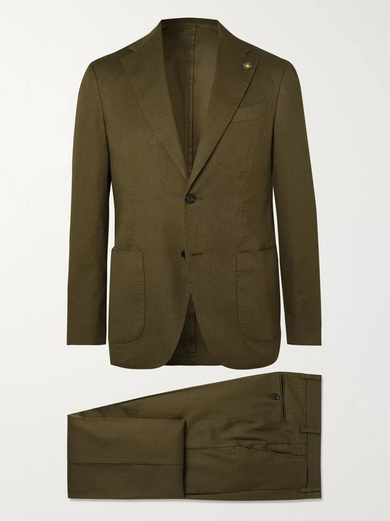 Lardini Army-Green Slim-Fit Linen-Blend Suit