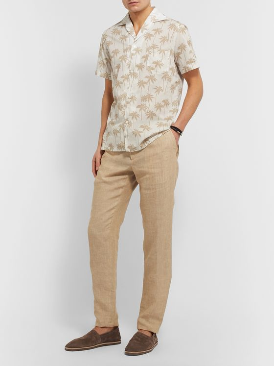 Lardini Camp-Collar Printed Cotton Shirt