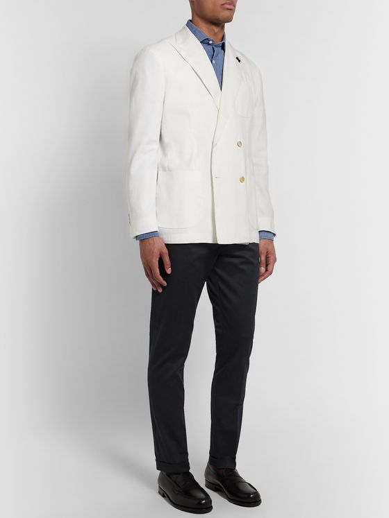 Lardini Off-White Unstructured Double-Breasted Linen-Blend Blazer