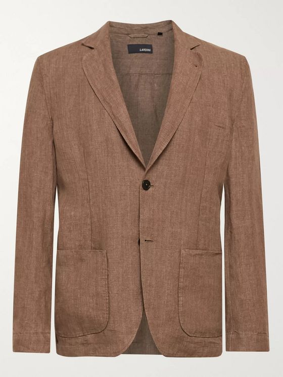 Lardini Tan Unstructured Linen Blazer