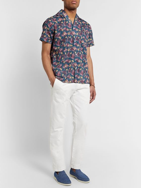 Lardini Camp-Collar Floral-Print Cotton Shirt