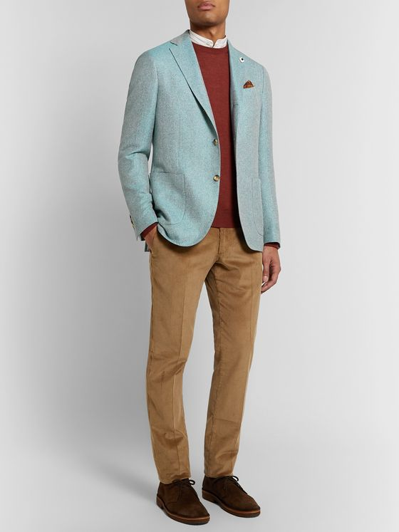 Lardini Light-Blue Unstructured Herringbone Wool, Linen and Silk-Blend Blazer