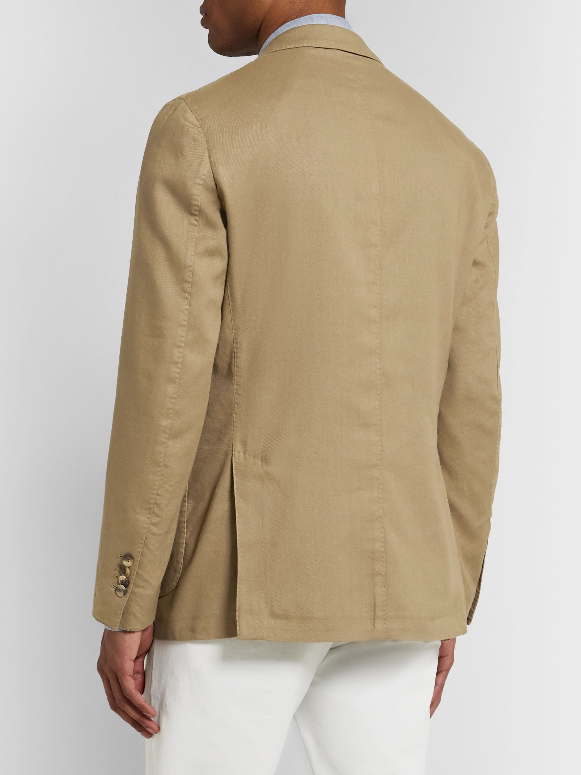 Lardini Light-Brown Unstructured Linen-Blend Twill Blazer