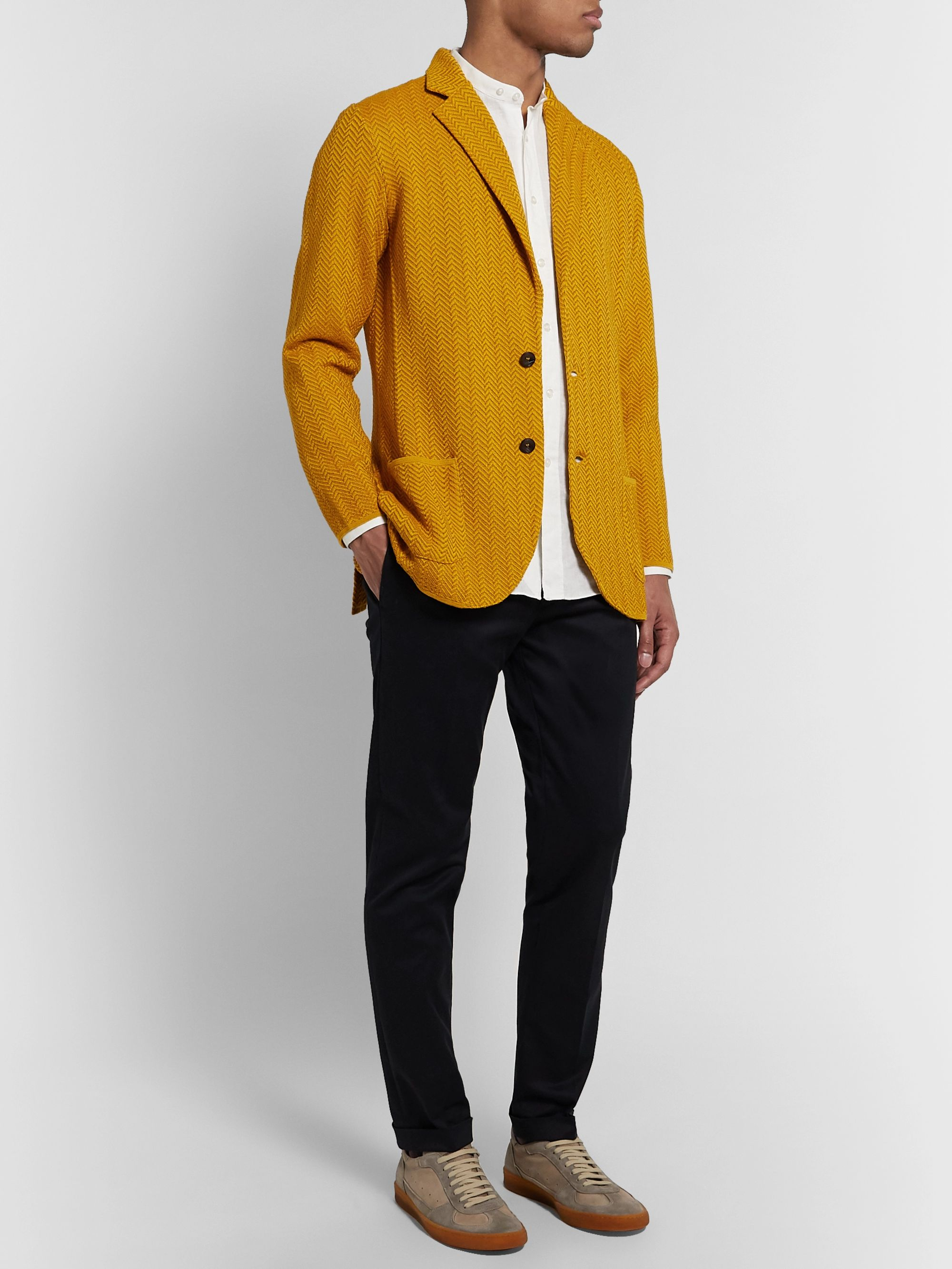 Lardini Mustard Slim-Fit Herringbone Cotton and Linen-Blend Knitted Blazer