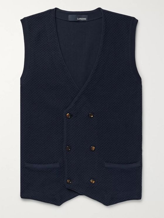 Lardini Double-Breasted Textured-Cotton Gilet