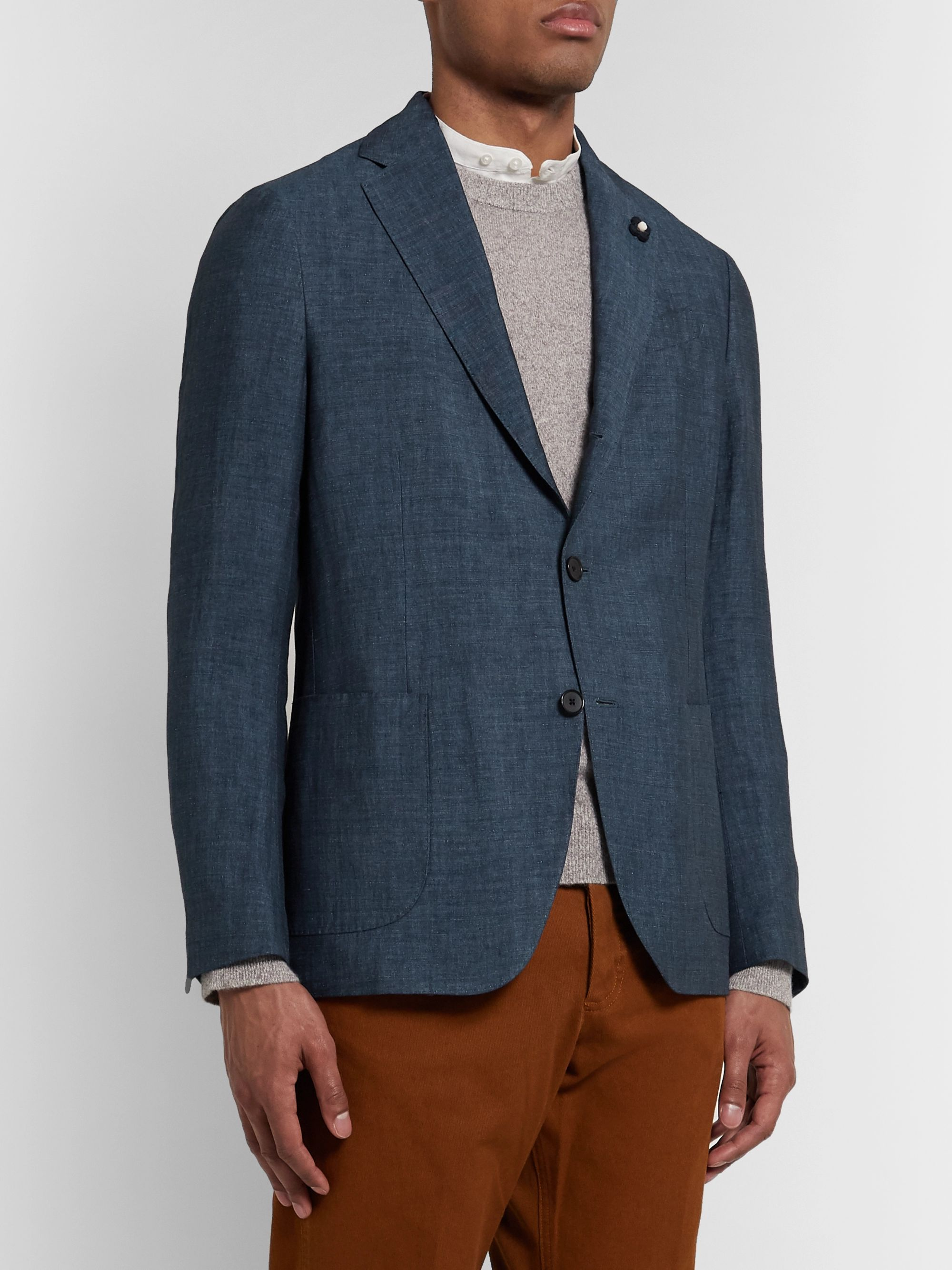 Lardini Navy Mélange Linen and Tencel-Blend Blazer