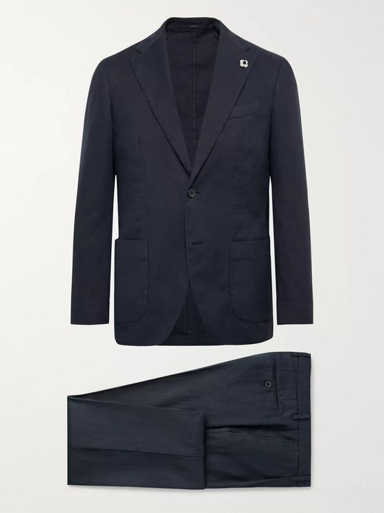 Lardini Navy Slim-Fit Linen-Blend Suit