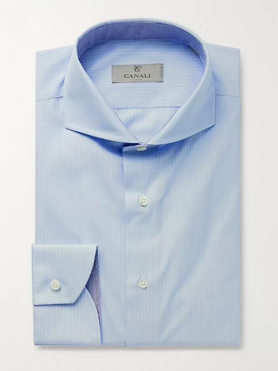 Canali Light-Blue Cutaway-Collar Striped Cotton Shirt