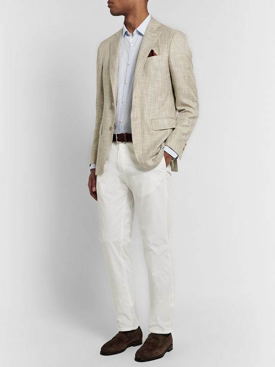 Canali Beige Kei Cotton, Silk and Wool-Blend Blazer
