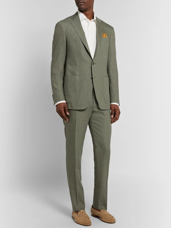 Canali Army-Green Kei Slim-Fit Linen and Wool-Blend Suit Jacket