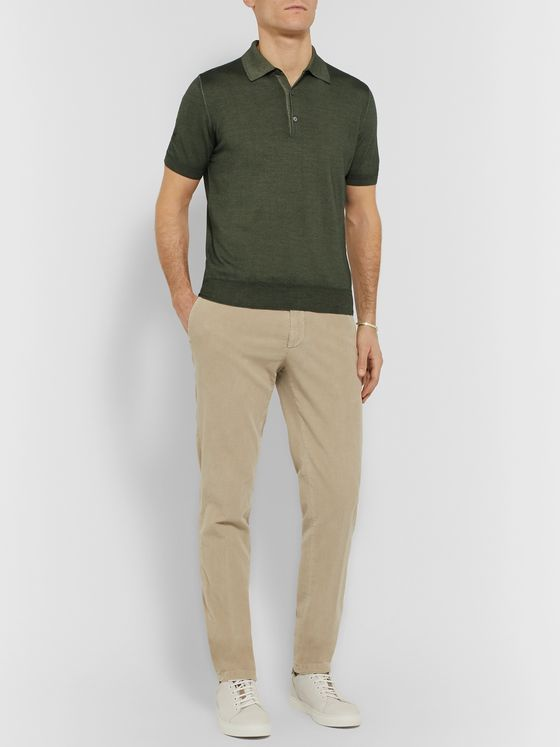 Canali Slim-Fit Wool and Silk-Blend Polo Shirt