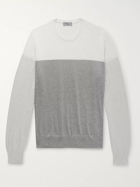 Canali Colour-Block Cotton Sweater