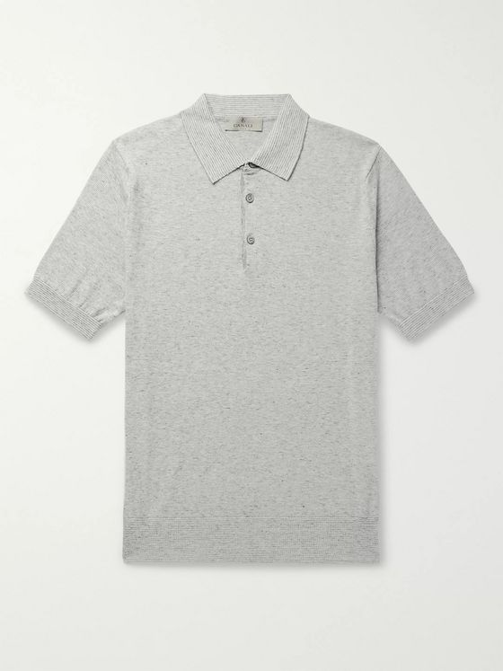 Canali Slim-Fit Striped Knitted Cotton Polo Shirt