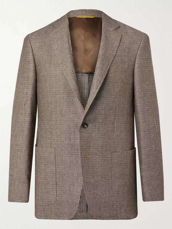 Canali Checked Linen and Wool-Blend Blazer