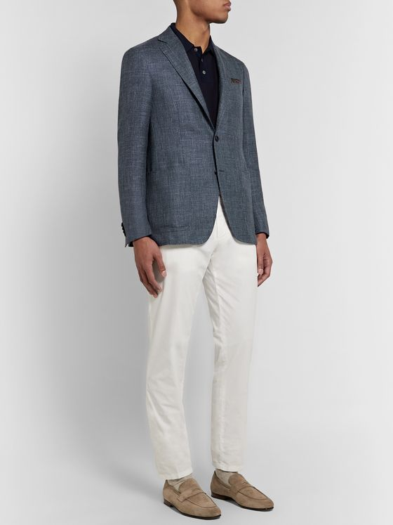 Canali Blue Kei Slim-Fit Wool, Silk and Linen-Blend Blazer