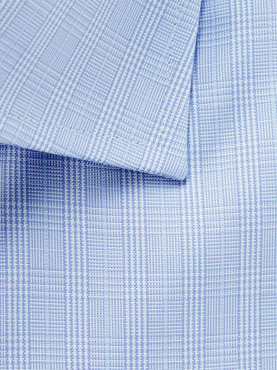 Canali Light-Blue Cutaway-Collar Prince of Wales Checked Cotton-Poplin Shirt