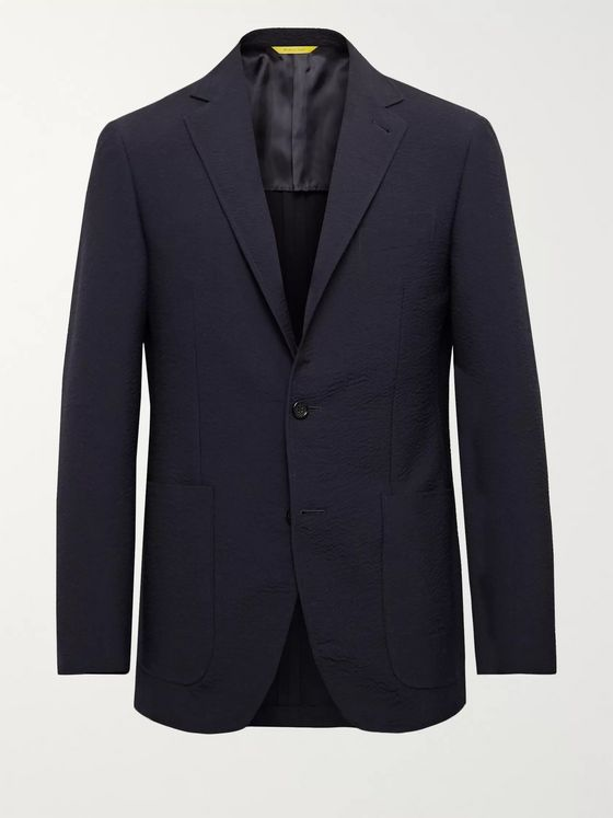 Canali Kei Slim-Fit Wool-Blend Seersucker Suit Jacket