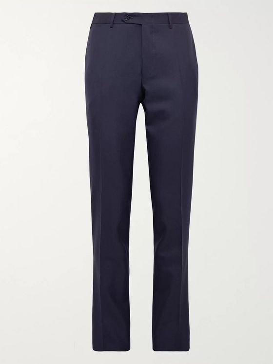 Canali Grey Slim-Fit Nailhead Wool Trousers