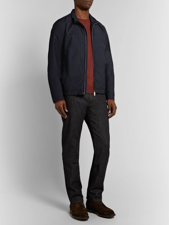 Canali Suede-Trimmed Twill Blouson Jacket