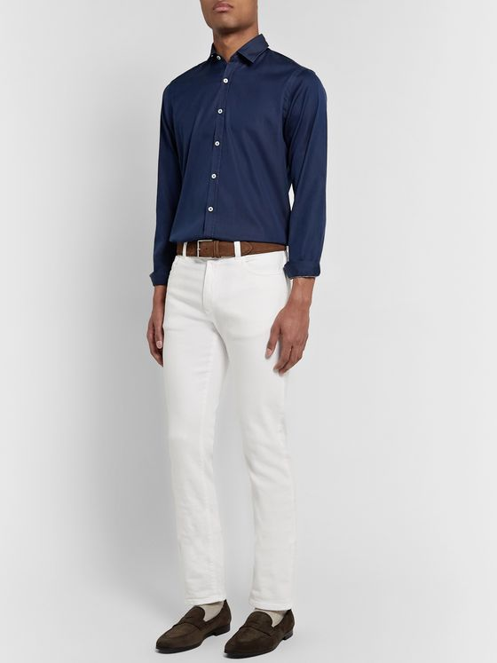 Canali Slim-Fit Cotton-Chambray Shirt