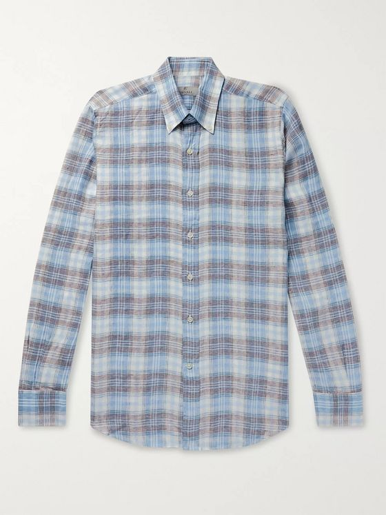 Canali Button-Down Collar Checked Linen Shirt