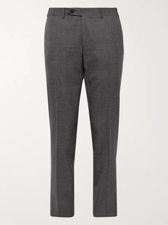 Canali Navy Slim-Fit Nailhead Wool Trousers