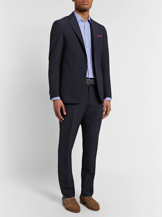Canali Kei Slim-Fit Wool-Blend Seersucker Suit Trousers
