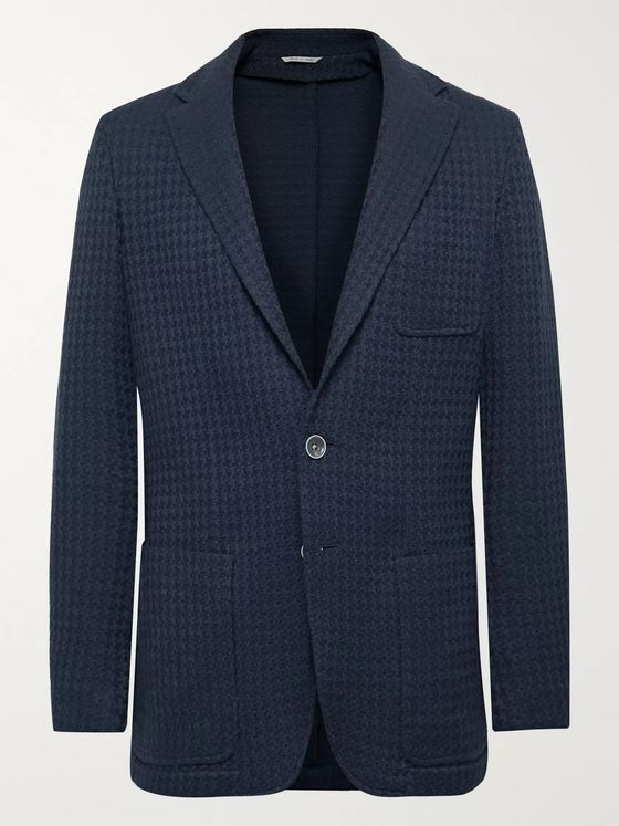 Canali Slim-Fit Houndstooth Cotton Blazer